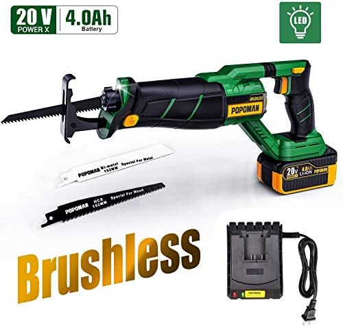 Brushless Reciprocating Saw, POPOMAN 20V 4.0Ah Cordless Saw with LED, 1-1 8 Stroke Length, 0-2500 SPM, 4.0Ah Battery, Fast Charger, 2 Blades for Wood and Metal Cutting - MTW200B
