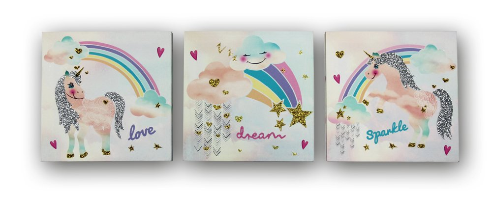 Arthouse Unicorn Glitter Set of Three Canvas 4682