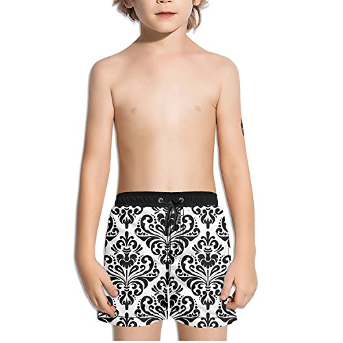 Ouxioaz Boys' Swim Trunk Decorative Flowers Pattern Beach Board Shorts by Ouxioaz