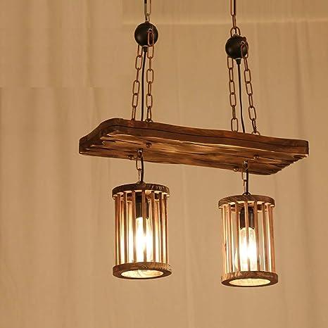 YCLED Lámparas de Madera Vintage Jaula de Madera Industrial ...