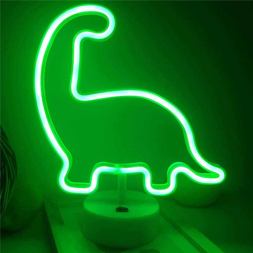 Qunlight Neon Night Light Dinosaur Shaped with Green Lamp USB & Battery Powered No Heat Table Lamp, Decoration for Wedding Sign,Birthday Party,Kids Room, Living Room,Bedroom,or Bar(Dinosaur)
