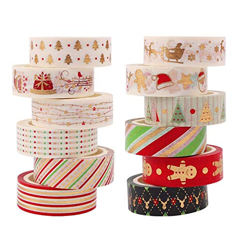 12 Roll Christmas Washi Tape Set 5Mx 15mm Gold Foil Decorative Washi Masking Tape Merry Christmas DIY Arts Craft Adhesive Tape for Xmas Christmas Decorations, Gift Wrapping, Party Favors Supplies