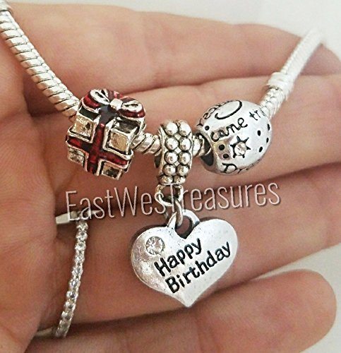 EWT 3pc Happy birthday wishes celebration Gift present Dreams come true Charm set for all brand & European charm bracelet and any chain necklace29.99