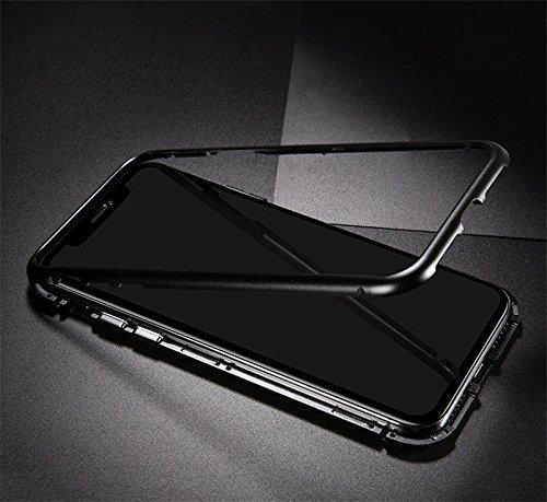 Laxus iPhone X Hülle, Full Body Slim Fit Ultradünne Hülle, [Magnetic Flip Cover] [Metallrahmen] [Clear Gehärtetes Glas] [Support Wireless Charging] für iPhone X