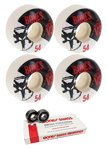 くまプレート死傷者54 mm Bones Wheels STFスリムv3シリーズスケートボードWheels with Bones Bearings – 8 mm Bones Swiss Skateboard Bearings – 2アイテムのバンドル