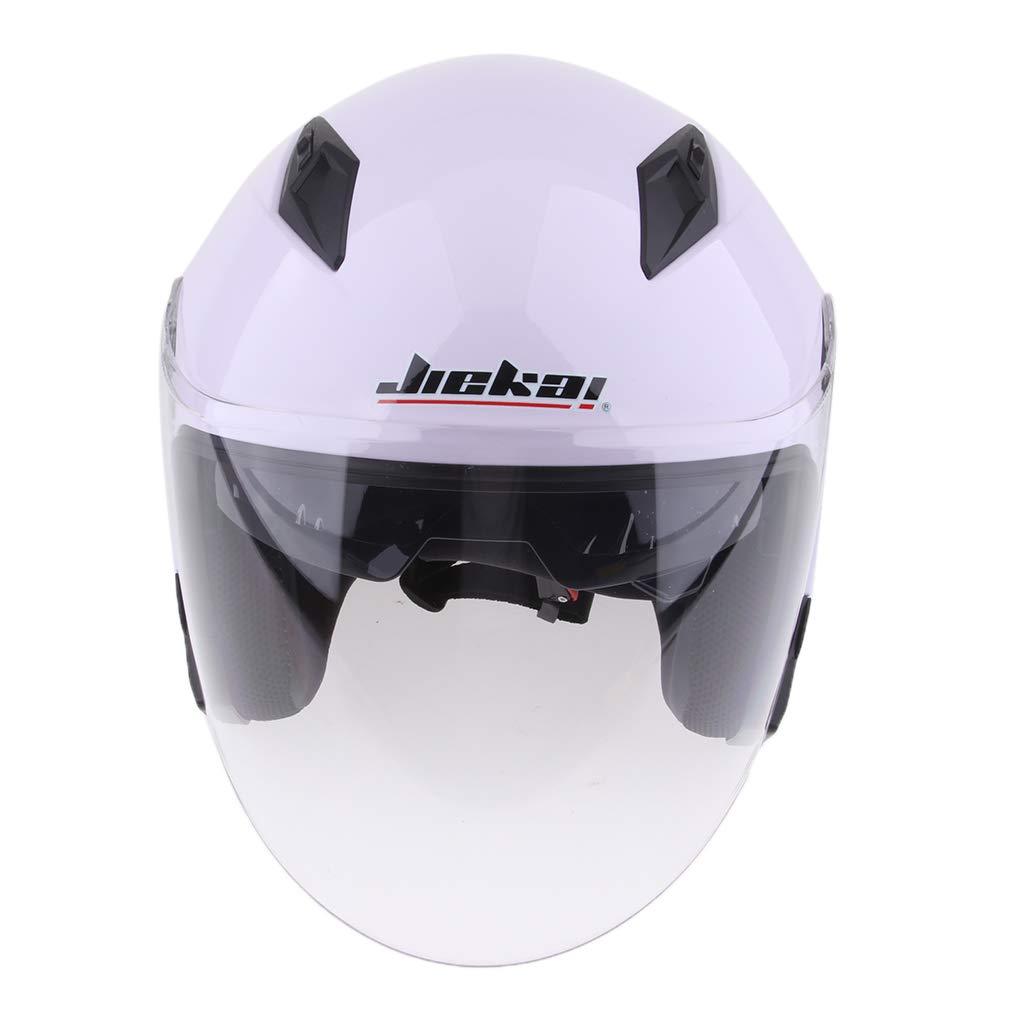 Baoblaze Dual Visors Motorcycle 3/4 Open Face Half Helmet Full Shield Visor Helmets - Matte Black L