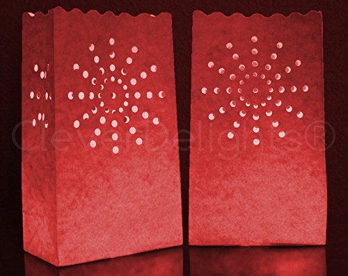 50 Pk - CleverDelights Red Luminary Bags - Sunburst - Flame Resistant Luminaria - Wedding Christmas for $<!--$33.99-->
