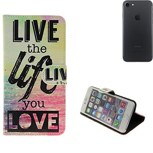 360° Wallet Case Schutz Hülle für Apple iPhone 7, ''live the life you love''   Smarpthone Flip cover Flipstyle Tasche - K-S-Trade (TM) (Wir zahlen Steuern in Deutschland!)