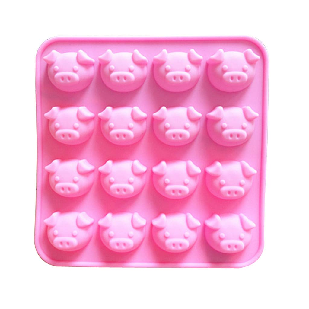 Food Grade Silicone Mold, SUJING Cute Little Pig Mold, Jelly, Biscuits, Chocolate, Candy, Cupcake Baking Mould,Silicone Cake Baking (Pid head Shape)