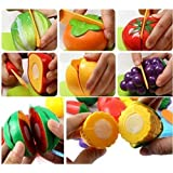 KIDSZONE Realistic Sliceable Fruits and Vegetables Cutting, Knife and Plate Play Toy Set