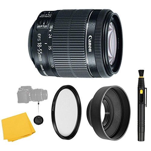 (CanonEF-S 18-55mm f/3.5-5.6 IS STM Lens + UV Filter + Collapsible Rubber Lens Hood + Lens Cleaning Pen + Lens Cap Keeper + Cleaning Cloth - 18-55mm STM: International Version (No warranty) )