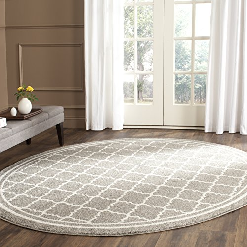 Safavieh Amherst Collection AMT422R Dark Grey and Beige Indoor/ Outdoor Round Area Rug (7' Diameter) - Beige 7' Round Area Rug