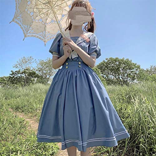 Zzx Japanse Lolita Sweet Dress Harajuku Sailor Collar Navy Jurken Vintage Bow Kawaii meisjes preppy stijl lange mouw…