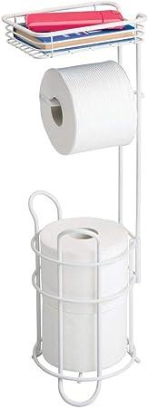 mDesign porte papier toilette couleur bronze distributeur papier toilette avec /étag/ère id/éal pour rangement salle de bain d/érouleur papier toilette /él/égant en m/étal