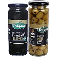 Fragata Pitted Green Olives 440g and Fine Herbs Olives 330g (Combo Pack)-Olives for Pizzas and Salads