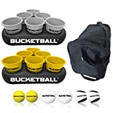 BucketBall - Team Color Edition - Party Pack (Silver/Yellow): Original Yard Pong Game: Best Camping, Beach, Lawn, Outdoor, Family, Adult, Tailgate Game