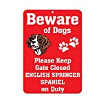 Aluminum Metal Sign Funny English Springer Spaniel Dog Beware of Fun Informative Novelty Wall Art Vertical 8INx12IN 4