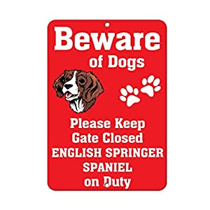 Aluminum Metal Sign Funny English Springer Spaniel Dog Beware of Fun Informative Novelty Wall Art Vertical 8INx12IN 22
