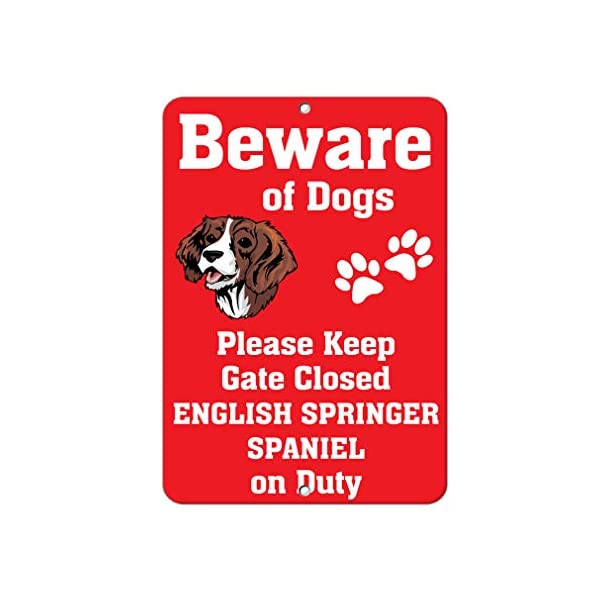 Aluminum Metal Sign Funny English Springer Spaniel Dog Beware of Fun Informative Novelty Wall Art Vertical 8INx12IN 1