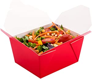 Bio Tek 30 Ounce Paper Take Out Boxes, 200 Grease Resistant Lining Take Out Food Containers - Tab Lock Closure, Hot and Cold Foods, Red Paper Take Out Boxes, Recyclable, Sturdy - Restaurantware