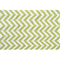 The Rug Market 25607B Handmade Rugs, Chevron Lime, Multicolor