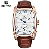 Benyar leather strap deluxe rectangular quartz watch classic date fashionable men's Watch