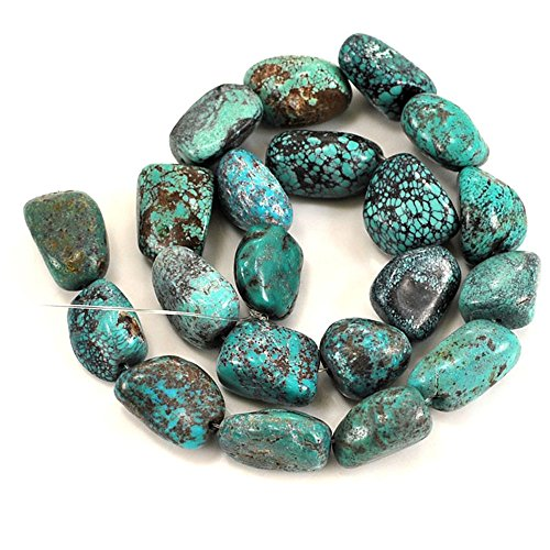 01 Blue Hubei Turquoise Nugget 14-20mm for Necklace Gemstone Loose Beads 15