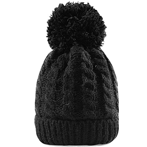 Women's Winter Beanie With Warm Lining - Thick Slouchy Cable Knit Skull Hat Pom Pom Ski Cap In 7 Colors (Black)