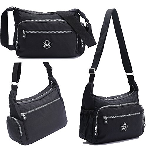 Bag Unisex Shoulder Multi Travel Purse Water Resistant Nylon Bag Crossbody Pocket Model KL1144 Travel BEKILOLE Black qB80Axn