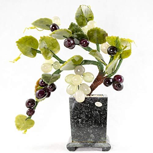 Vintage Chinese Carved Semi Precious Stone Grapes Bonsai Tree # 5942 ()