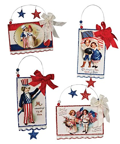 Bethany Lowe Vintage Style Image Patriotic Americana Postcard Ornament Set of 4 (Americana Bead)