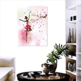 """Kids Room Customizable Wall Stickers Ballet Butterfly Fairy Ballerina Princess Dancer Flowers Tree Branch Floral Girls Party Print Stickers for Wall Home 16""""x24"""""""