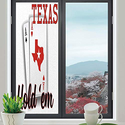YOLIYANA The Visual Effect of Textured Glass and Stained Glass,Poker Tournament Decorations,is Good for Long Year Under The Sunshine,Texas Holdem Theme Pair of Aces with Map,24''x70'' ()