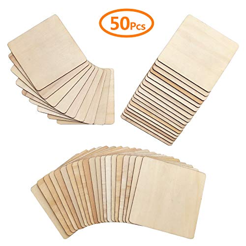 Hangnuo 50 Pack Unfinished Wood Coasters 4 x 4 Inch Square Cutouts Tiles for DIY Crafts, Wood Burning, Ornament Decorations]()