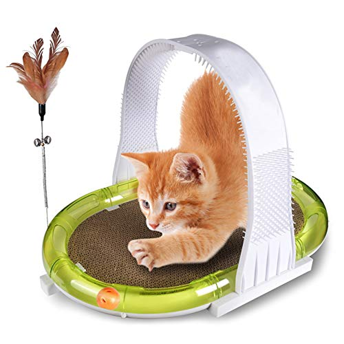 4 in 1 Pet Cat Interactive Toy Funny Corrugated Paper Cat Scratch Board Track Ball Turntable Feather Tease Sticks Self Massage Grooming Comb Brush Pet Gift (Comb 1 Grooming 4in)