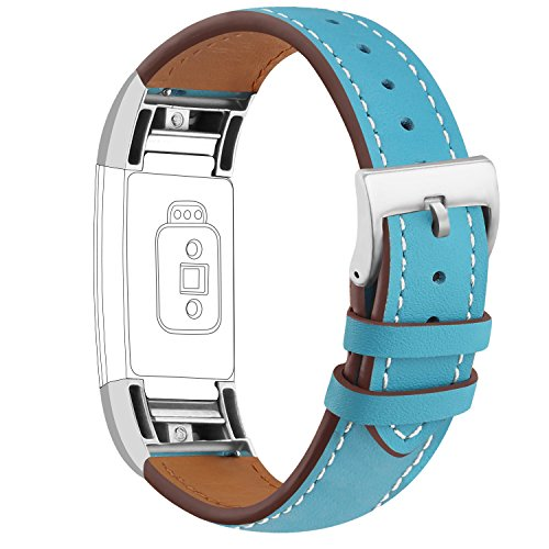 (iGK Leather Replacement Bands Compatible for Fitbit Charge 2, Genuine Leather Wristbands Gold )