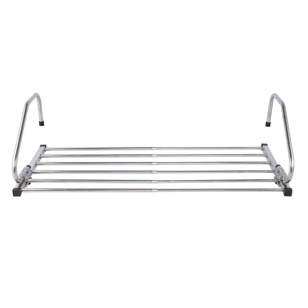 Stainless steel folding clothes rack,Window sills foldable clothes hangers Window drying rack drying sun terrace indoor shoes drying clothes rack-A
