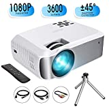 Mini Projector, TOPELEK Video Projector (2019 Upgraded) 1080P Supported with 3600 Lumens & ±45° Vertical Keystone Correction; LED Portable Projector with 2000:1 Contrast Ratio, 200' Display (w/Tripod)