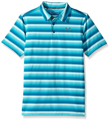 cfe1ed8a Under Armour Boys' Playoff Stripe Polo Shirt,Bayou Blue (953)/Rhino