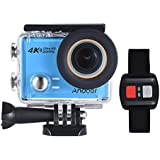 4K Action Camera, Andoer AN100 WIFI Sports Action Video Camera 30MP 1080P/120fps 2.0 IPS Screen 170° Wide Angle Waterproof 45m cam with Remote Control Support Gyro G-sensor FPV External Mic (Blue)