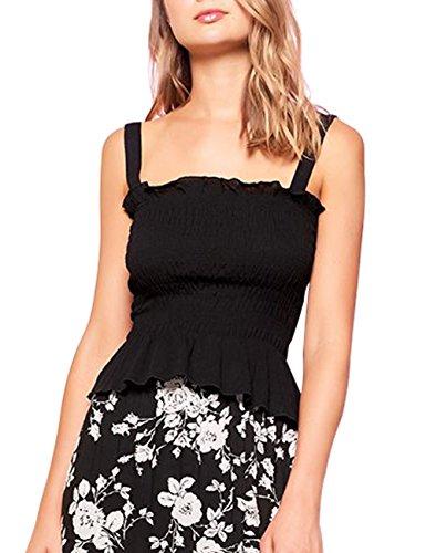 just quella Women's Sleeveless Camis Adjustable Strap Tank Tops 9135 (S, Black)