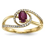 ICE CARATS 14k Yellow Gold Red Ruby Diamond Band Ring Size 7.00 Gemstone Fine Jewelry Gift Set For Women Heart