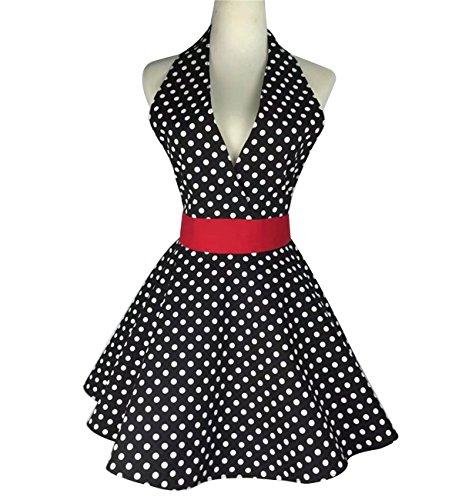 Lovely Retro Apron for Women Super Cute Adjustable Cotton V-Necked Polka Dot Classic Marilyn Monroe Big Wave Skirt Black Red