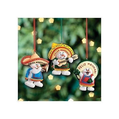 3 Feliz Navidad Snowman Christmas Ornaments Mexican Holiday Decor Tree Decorations
