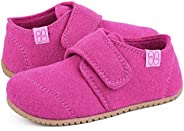 HomeTop Boys Girls Soft Wool Felt House Shoes with Adjustable Hook and Loop