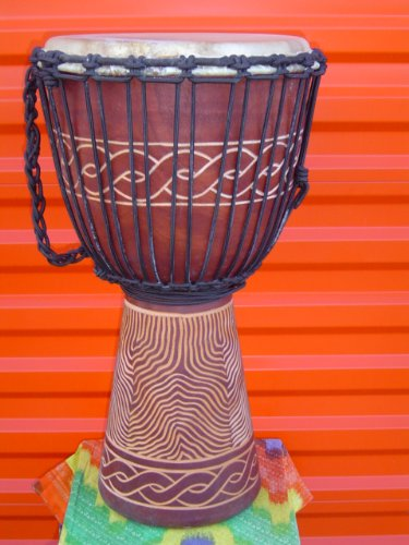 Beautiful 24'' X 14'' Djembe Deep Carved Hand Drum Bongo Wave Carving - Model # 60m12 by madedrums