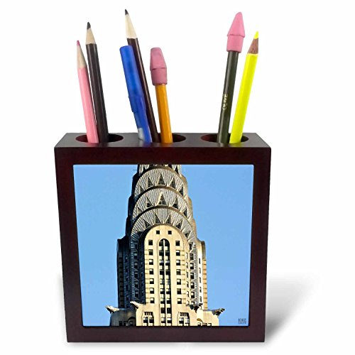 3dRose ph_10266_1 The Chrysler Building is an Art Deco Skyscraper in New York City, Located on The East Street-Tile Pen Holder, 5-Inch -