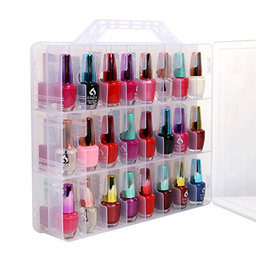 (Lumcrissy Portable Clear Nail Polish Organizer,Gel polish Carrying Case Storage Fingernail Polish Holder Box, (Stores 48 bottles) With Adjustable Dividers)