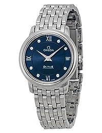Omega DeVille Prestige Blue Diamond Dial Stainless Steel Ladies Watch 42410276053001