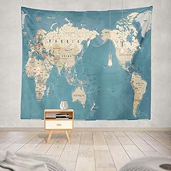 Amazon.com: Mapa del mundo tapiz colgante de pared Throw ...